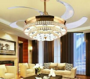 Ceiling Fan Crystal Chandelier Modern With Warm White Round Lights 1320MM Blades