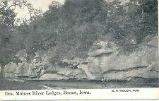 DES MOINES RIVER LEDGES, BOONE, IOWA. IA. ROCK FORMATIONS. MAN AT BOTTOM.