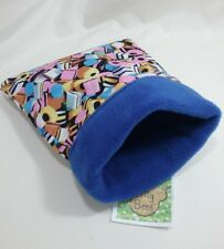 "Snuggle sack bag sweets blue Fleece 6"" x 7"" reversible hamster mouse rat"
