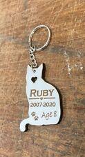 Personalised Engraved Cat Pet Memorial Keyring , Grave Mark Loving Memory Rabbit