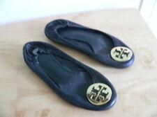 Tory Burch Black Leather Gold Emblem Reva Ballet Flat Shoes Women's Size 7