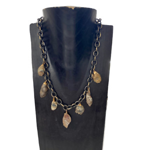 Electroplated Raw Agate Charm Large Link Antiqued Chain Necklace
