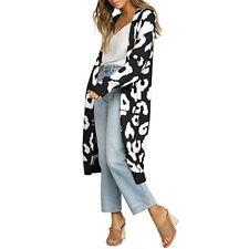 Leopard Women's Long Outwear Sweater Cardigan Loose Fit Korean Fashion Knit Tops