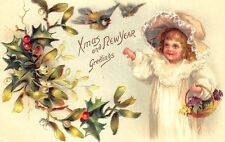 Beautiful Christmas New Years Embossed Postcard Girl w/basket
