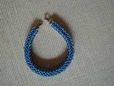 Armband Miyuki Perlen Glas gewebt Silber blau Grau perlmutt 21cm x1.2 cm