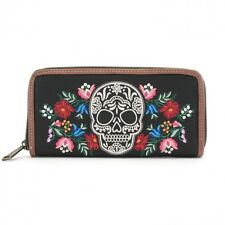 # New LOUNGEFLY Flower Skull WALLET Checkbook FAUX LEATHER Black White Red Pink