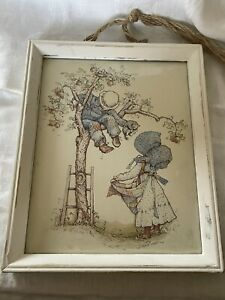 """Vintage 1970s Framed Holly Hobbie """"A Friend In Need"""" Print 8x10"""