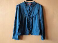 Comptoir Des Cotonniers Blue Cotton Wool Button Down Blouse Shirt Top Size 34