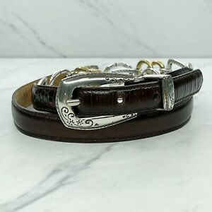 Brighton Brown Vintage Croc Embossed Leather Heart Chain Belt Size Large L 32