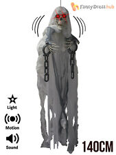 1.4m Animated Hanging Skeleton Halloween Party Decoration Sound Lights Up Prop