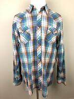 Roper Mens XL Plaid Long Sleeve Pearl Snap Shirt Western Cowboy