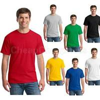 Mens T-Shirt Crew Neck Blank Basic Plain TEE Short Sleeve Cotton YF