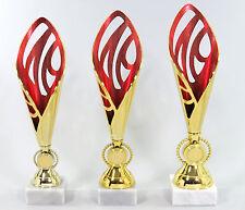 Super 3 er Serie Pokale 33 - 35 cm Gold/Rot inkl. Gravur und Emblem L111-