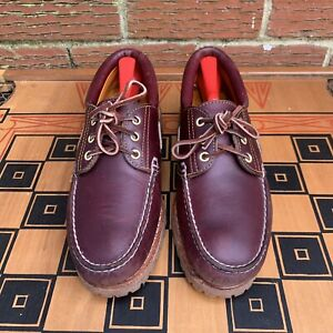 Timberland Men 8.5 M Icon 3-Eye Classic Lug Boat Shoes Burgundy Red 50009