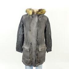 MAZE Parka Mantel Coat Kunst-Leder -Fell Schwarz Grau Gr. XL 42