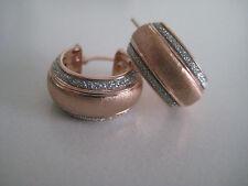 Or Rose Boucles d'oreilles Créoles paillettes Triple poussière de lune diamant