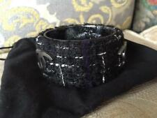 AUTH NEW IN BOX CHANEL ICONIC TWEED BANGLE BLACK CC LOGO ACCENTED BRACELET