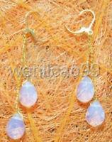 White Blue Fire Opal Drop Yellow Gold Plated Link Hook Dangle Earrings