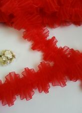 """2-1/4"""" Red Ruffle Pleated Organza Lace Trims-1 Yard-T376R"""