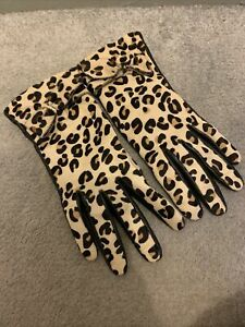 Kate Spade New York Leopard Print Bow Detail Leather Gloves Size 6.5