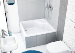 Duschwanne Duschtasse Viereck Sitz 90 x 90 x 41 cm 28 cm tief Füße Ablauf GRATIS