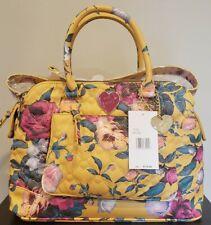 Betsey Johnson Quilted Floral Mustard Satchel Handbag
