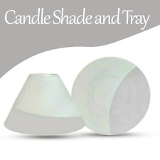 Yankee Candle Serene Sandblast Shade and Tray Large White & Grey for Candle Jar