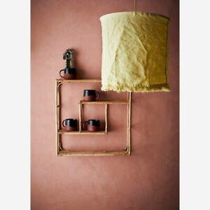 Square Bamboo Wall Hung 3 Tier Wooden Shelf, Modern Shelving Display Unit