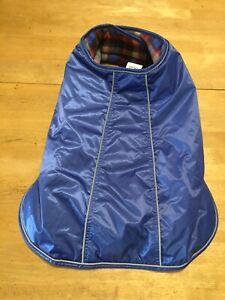 Top Paw Blue Reflective Coat Cape Dog Clothes XL Plaid Fleece Lined
