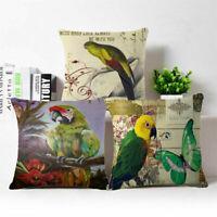 """18"""" Fashion Parrot Cotton Linen Throw Pillow Case Cushion Cover Home Sofa Decor"""