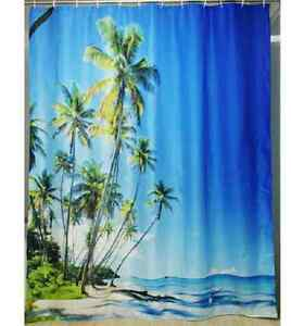Tropical Summer Beach    FABRIC SHOWER CURTAIN,