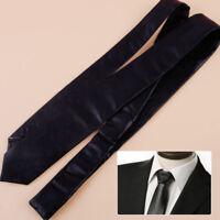 Mens Wedding Black Leather Skinny Thin Solid Colour Narrow Necktie Satin Tie
