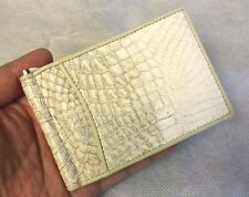 Genuine Crocodile Wallets Skin Leather Bifold Men's Money Clip Credit Card White