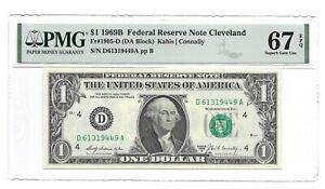 1969B $1 CLEVELAND FRN, PMG SUPERB GEM UNCIRCULATED 67 EPQ BANKNOTE