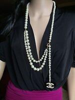 Authentic CHANEL Pearl 3 Strand Drape Long Necklace / Belt CC Logo France RARE!