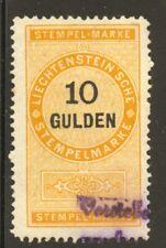 Liechtenstein 1879 Revenue 10 Gulden used, no faults