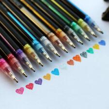 12Pcs Colors Gel Pen Set Coloring Book Glitter Pens Drawing Craft Art DIY Gift