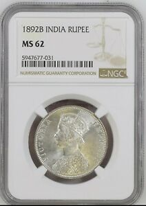 1892 B  British India Empress Victoria Silver Rupee NGC MS 62