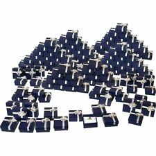 144 Ring Gift Boxes Jewelry Displays Bow Tie Blue