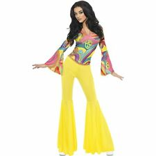 70's Fever Groovy Disco Hippie Babe Womens Ladies Fancy Dress Costume