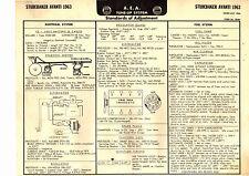 1963 STUDEBAKER AVANT1 63 A.E.A. AEA A E A EIGHT CYLINDER TUNE-UP CHART DIAGRAM