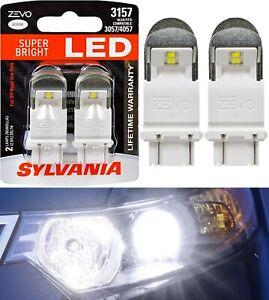 Sylvania ZEVO LED Light 3157 White 6000K Two Bulbs Rear Turn Signal Replace Lamp