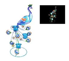 Home N Garden Metal Glass Colourful Peacock Standing W Candle Holder Tealight