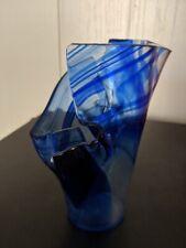 Handblown Glass Signed Blue Floral Vase / Deep Dish / Candle Holder
