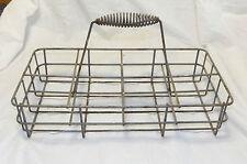 Antique 8 Milk Bottle Metal Wire Spring Coil Handle Caddie Carrier Dairy Basket