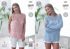 Knitting Pattern Womens Sleeveless Lace Yolk Top Opium 4827 King Cole