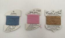 Lot 3 Needlepoint Thread Rainbow Patina  Blue Neon Rays Pink Cresta D Oro Gold