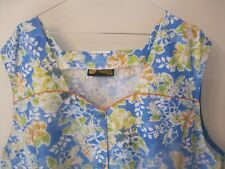 VINTAGE 54ins CHEST DINNER LADY OVERALL DRESS APRON BLUE FLORAL SISSY FRENCH