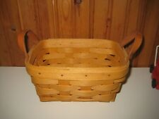 Longaberger Basket Sweet Little Key Basket With Leather Handles 1999