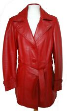 CARRIE HOXTON Red Leather Jacket Coat UK10